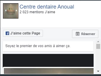 page facebook de centre dentaire anoual